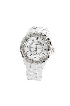 Λευκό ρολόι με στρογγυλό καντράν, διακοσμημένο με διαμαντάκια, 19,90€.
