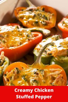 Simple stuffed bell pepper is one of our favorite dinners to make. So easy to make and the stuffing possibilities are endless. This creamy chicken version has cream cheese, spinach, and chicken for a decadent feeling low-carb meal. The perfect combo. Chicken Bell Pepper Recipes, Green Pepper Recipes, Recipes With Chicken And Peppers, Chicken Recipes, Cream Cheese Stuffed Peppers, Stuffed Bell Peppers Chicken, Stuffed Sweet Peppers, Crockpot Chicken And Dumplings, Easy Crockpot Chicken