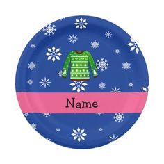 Custom name green ugly christmas sweater blue snow 7 inch paper plate