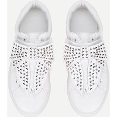 SheIn(sheinside) Studded Bow Design Low Top Sneakers (61 BAM) via Polyvore featuring shoes, sneakers, bow sneakers, white low tops, white low top sneakers, studded sneakers i round cap
