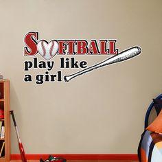 Softball Play Like A Girl - Printed Wall Decal - Sweetums Wall Decals
