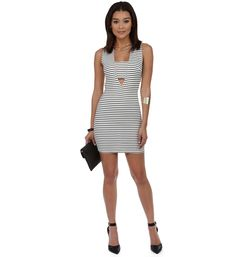 White Bar Stripe Mini Dress