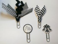Black/White/Monochrome True Love Ribbon Paperclip Set - Planner/Journal/Bookmark - Erin Condren, Kikki K, Happy Planner