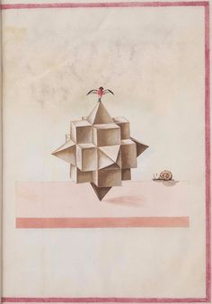 The album of geometric and perspective drawings, 1500s. Watercolour sketches of polyhedra or, as the Latin title on one of the images above has it, perspectives of the regular solids (a standard descriptive name, originating with Plato and Euclid).