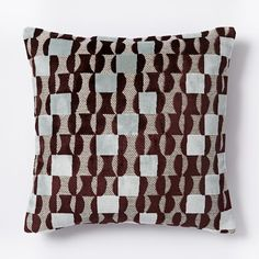 Jacquard Velvet Geo Pillow Cover - Burgundy | west elm