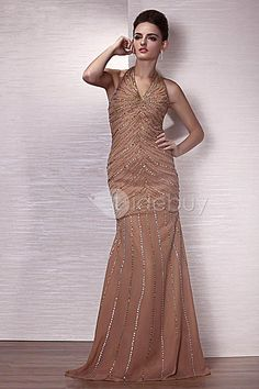 カラムホルター床までの長さイブニングドレス