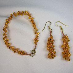 Orange Wire Crochet Earrings & Bracelet 2 by AnjasWireCrochet, $10.00