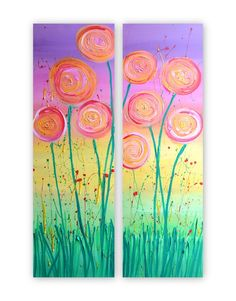 Abstract Flowers Two Canvas Painting