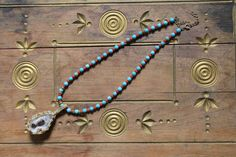 Hippy chic geode pendant necklace by SassafrasFox on Etsy