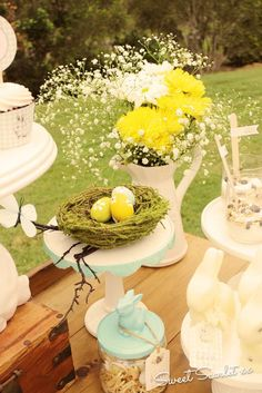 Lovely decor at an Easter party! See more party ideas at CatchMyParty.com!