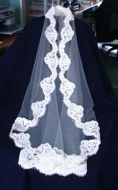 Veil, love the scalloped lace around it