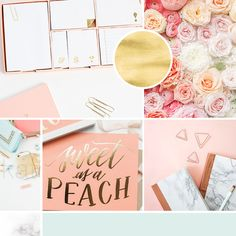 Mood board, inspiration board for creative blog Heart Handmade UK. A brand design with coral gold and mint for the lifestyle blog with modern feminine design. marble stationery // flowers // clutch deskscape // notes // sweet as a peach