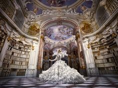 A Disney-Themed Photo Shoot Set In A Historical Library Filled With 70,000 Books - DesignTAXI.com