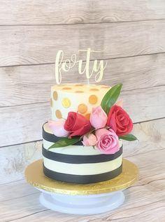 Birthday Cake For Women Simple, Birthday Cakes For Teens, Homemade Birthday Cakes, 40th Birthday Cakes, 40th Birthday Parties, Birthday Recipes, Birthday Crafts, Birthday Nails, Birthday Ideas