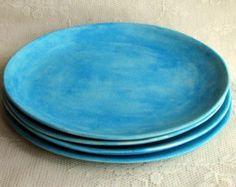 Set of Six cut edge plates Handmade by Lesliefreemandesigns