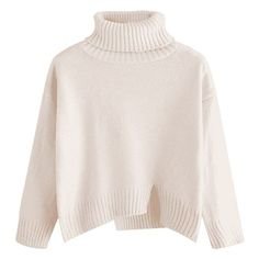 Slit Oversized Turtleneck Sweater Off-white ($27) ❤ liked on Polyvore featuring tops, sweaters, champagne top, polo neck sweater, off white top, oversized turtleneck and turtleneck tops