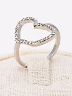 Silver Diamante Open Heart Ring - MYNYstyle - 1