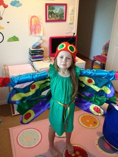 The very hungry caterpillar costume I made for book week :)Turning into a butterfly!