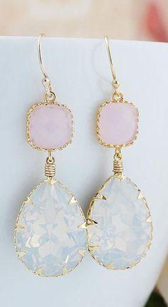 White Opal Swarovski Crystal GOLD FILLED Earrings