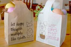 Quick and Easy Paper Easter Bags! NOT just for Easter Easter Crafts, Holiday Crafts, Holiday Fun, Craft Activities, Preschool Crafts, Crafts For Kids, Activity Ideas, Umbrella Wreath, Plastic Easter Eggs