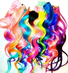 Hair extensions colorful