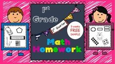 3 WEEKS FREE of my homework packet...This Math Homework - 1st Grade is a great weekly homework packet that will review all common core strands on a weekly basis. It is very kid-friendly, easy to read, examples are given for most problems, and it's packed with real work...not just time-wasting work.