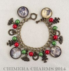 A Christmas Carol Antique Bronze Charm Bracelet with Scrooge, Bob Cratchit and Tiny Tim Images