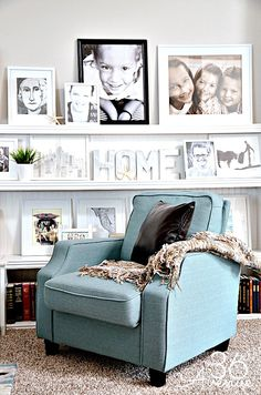 Neutrals and blues make perfect living room hues. #HomeGoodsHappy
