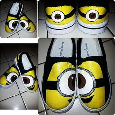 Custom Painted Minion Shoes One Eye by ModernFymyKicks on Etsy, $35.00