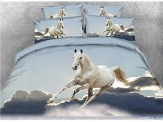 Running Horses under Moonlight Printed Cotton Bedding Sets/Duvet Covers Kids Twin Bedding Sets, 3d Bedding Sets, King Size Bedding Sets, Bedding Sets Online, Luxury Bedding Sets, Comforter Sets, Western Bedding Sets, Horse Bedding, Bed Sets For Sale