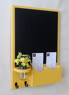 Chalkboard Mail Organizer with Jar Vase - Wood - Letter Holder - Mail Holder - Key Hooks