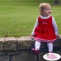 Monogrammed Corduroy  Dress Red with White Trim  Apparel & Accessories > Clothing > Baby & Toddler Clothing > Baby & Toddler Dresses
