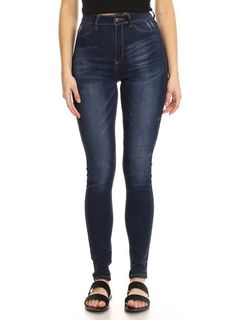 274d681aa7f Monotiques Women s Jeans EasyWear Dark Blue High Rise Solid Stretch Skinny  Denim Jean Outfits