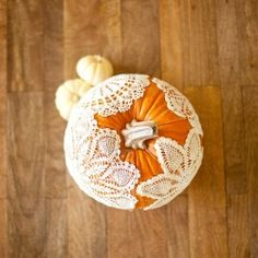 Change up a pumpkin with some vintage doilies. Perfect centerpiece for a fall wedding or thanksgiving.