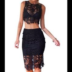 🆕  🎉🎈HP🎉🎉Sexy Two Piece Lace Skirt & Crop Top New in package. Skirt is lined to thigh. Top is transparent, need to wear something underneath. Skirt zips in back stretchy. Dresses Midi