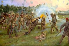 Thunder At Dawn-mark-maritato, showing Confederate artillery at Antietam