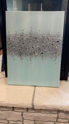 Glitter Kunst, Glitter Wall Art, Glitter Canvas, Diy Canvas Art, Diy Wall Art, Diy Art, Mirror Canvas Art, Mirror Painting, Diy Painting