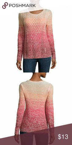 Crew Neck Cable Knit Pullover Sweater Sleeve Length: Long Sleeve Neckline: Crew Neck Fabric Content: 54% Cotton, 46% Acrylic Fabric Description: Cable Knit Country of Origin: Imported St. John's Bay Sweaters Crew & Scoop Necks