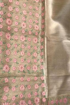 Shop more Handloom Bhagalpur Tussar Silk Saree at Luxurionworld. Cutwork Saree, Tussar Silk Saree, Cotton Saree, Embroidery Suits, Hand Embroidery, Machine Embroidery, Choli Blouse Design, Bridal Silk Saree, Plain Saree
