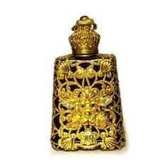 Gold, Blue, Rhinestone Czech Perfume Bottle