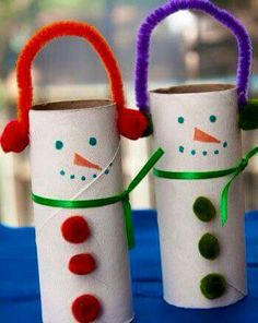 Toilet roll snowmen