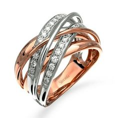 #SimonG rose and white gold right hand ring #JewelryDesignCenter