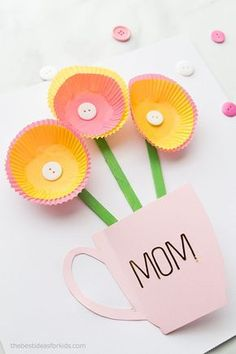Handmade Mothers Day Card - Mother's Day Card Kids Can Make.  #bestideasforkids Mothers Day Card Kids, Mothers Day Poems, Mother Card, Diy Mothers Day Gifts, Happy Mothers Day, Grandparent Gifts, Easy Mother's Day Crafts, Crafts For Kids To Make, Kids Diy