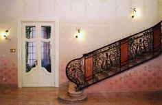 Secession in Budapest - the Körössy Villa. Built by architect Albert Kálmán Körössy for his family in The style of the building is mixture of French-Belgian art noveau and early Jugendstil. Budapest, Bugs, Entryway Tables, Villa, Stairs, Building, Furniture, Home Decor, Stairway