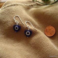1 Paar Ohrhänger in 925er Silber mit Herz Glücksauge, Glas Nazar: ca. 10 mm