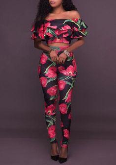 90476e26f Black Floral Print Double Ruffle Off Shoulder Bodycon Two Piece Long  Jumpsuit