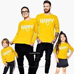 Family Sweatshirts, Matching Family Outfit, Matching Yellow Sweaters, Family Pullovers, Matching Mustard Sweaters, Matching Clothing Outfit