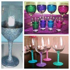 Mod podge and glitter, decorative cups, bridesmaid gift idea, other gift idea