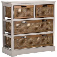 Pine wood storage cabinet in grey with 4 cane drawers.   Product: Storage chestConstruction Material: Pine wood and ...