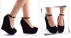 DDFL Daisy Dress For Less   Black Fashion sexy wedge pumps round toe shoes